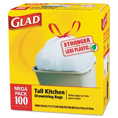 Drawstring Tall Kitchen Bags, 13 gallon, .95mil, 24 x 48, White