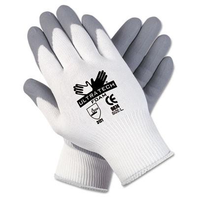 Ultra Tech Foam Seamless Nylon Knit Gloves, Medium, White/Gray