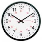 "24-Hour Round Wall Clock, 12 3/4 "", Black"