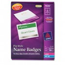 Badge Holders w/Laser/Inkjet Inserts, Top Loading, 3 x 4, White