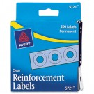 "Hole Reinforcements, 1/4"" Diameter, Clear, 200/Pack"