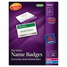 Badge Holders w/Laser/Inkjet Inserts, Top Loading, 2 1/4 x 3 1/2, White