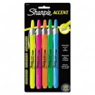 Retractable Highlighters, Chisel Tip, Assorted Fluorescent Colors, 5/Set