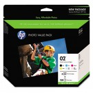 HP-02 Value Pack of Six Cartridges, 4 x 6 Advanced Photo Paper, 150 Sheets