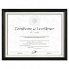 Two-Tone Document/Diploma Frame, Wood, 8-1/2 x 11, Black w/Gold Leaf Trim