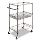 Three-Tier Wire Rolling Cart, 16w x 26d x 39h, Black Anthracite