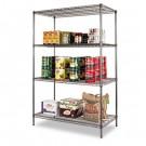 Wire Shelving Starter Kit, 4 Shelves, 48w x 24d x 72h, Black Anthracite