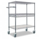 Three-Tier Wire Rolling Cart, 30w x 18d x 40h, Black Anthracite