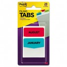 Preprinted File Tabs, 1 3/4 x 1 1/2, Jan.-Dec., 28/Pack