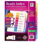 Ready Index Contemporary Table of Contents Divider, 1-8, Multi, Letter