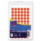 Removable Self-Adhesive Color-Coding Labels, 1/2in dia, Neon Red, 840/Pack