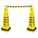 Portable Barricade System, Plastic, 12 1/4 x 12 1/4 x 39 3/4, Yellow