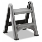 Two-Step Folding Plastic Step Stool, 300-lb. Duty Rating, Dark Gray