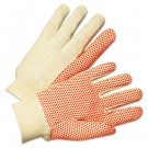 1000 Series PVC Dotted Canvas Gloves, Orange/Black, Large