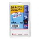 Print or Write File Folder Labels, 11/16 x 3-7/16, White/Dark Red Bar, 252/Pack