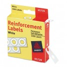 "Hole Reinforcements, 1/4"" Diameter, White, 1000/Pack"