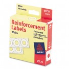 "Hole Reinforcements, 1/4"" Diameter, White, 200/Pack"