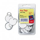 "Metal Rim Key Tags, Card Stock/Metal, 1 1/4"" Diameter, White, 50/Pack"