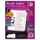 Ready Index Classic Tab Titles, 8-Tab, 1-8, Letter, Black/White, 1 Set