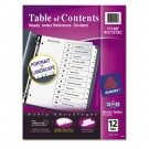 Ready Index Classic Tab Titles, 12-Tab, 1-12, Letter, Black/White, 12/Set