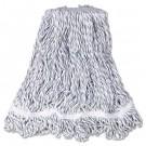"""Web Foot Finish Mops, White, Medium, Cotton/Synthetic, 1"""". White Headband, 6/CS"""