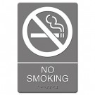 ADA Sign, No Smoking Symbol w/Tactile Graphic, Molded Plastic, 6 x 9, Gray