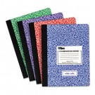 Composition Book w/Hard Cover, Wide Rule, 9-3/4 x 7-1/2, White, 100 Sheets/Pad