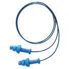 SDT-30-P SmartFit Multiple-Use Earplugs, Corded, 25NRR, White Cotton Cord, Blue