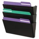 Recycled Wall File, Three Pocket, Plastic, Black