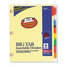 WorkSaver Big Tab Dividers w/CPR Holes, Eight Multicolor Tabs, Letter, Buff