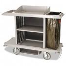 Full-Size Housekeeping Cart, 1-Shelf, 22w x 60d x 50h, Platinum