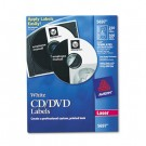 Laser CD/DVD Labels, Matte White, 250/Pack