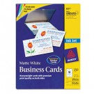 Inkjet Matte Business Cards, 2 x 3 1/2, White, 10/Sheet, 250/Pack