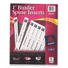 "Custom Binder Spine Inserts, 1"" Spine Width, 8 Inserts/Sheet, 5 Sheets/Pack"