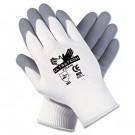 Ultra Tech Foam Seamless Nylon Knit Gloves, Large, White/Gray