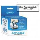 Address Labels, 1-1/8 x 3-1/2, Clear, 130/Box