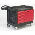 TradeMaster Cart, 750-lb Cap., 1 Shelf, 26 1/4w x 49d x 38h, Black