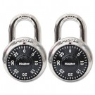 "Combination Lock, Stainless Steel, 1-7/8"" Wide, Black Dial, 2/Pack"