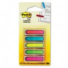 """Arrow 1/2"""" Flags, Five Assorted Bright Colors, 20/Color, 100/Pack"""