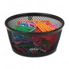 "Jumbo Nestable Paper Clip Dish, Wire Mesh, 4 3/8"" Diameter x 2"" , Black"