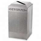 Silhouette Paper Recycling Receptacle, Square, Steel, 29 gal, Silver Metallic