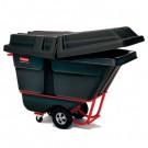 Forkliftable Tilt Truck, Rectangular, Plastic, 1250-lb Cap., Black