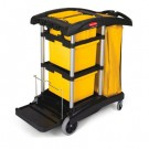 HYGEN M-fiber Healthcare Cleaning Cart, 22w x 48 1/4d x 44h, BK/YW/SR